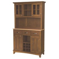 Home Styles Three-Drawer 44 in. W Cottage Oak Buffet with Wood Top and Hutch-5100-0061-62 at The Home Depot