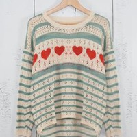 Lucky in Love Heart and Striped Pointelle Knit Boyfriend Sweater in Light Blue/Red | Sincerely Sweet Boutique