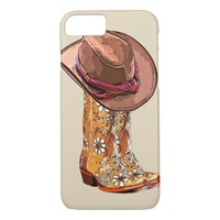 Brown Cowgirl Boots And Hat Still Life Art iPhone 8/7 Case