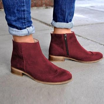 Woman's Thick Heels Autumn and Winter Low Heels Martin Boots Shoes