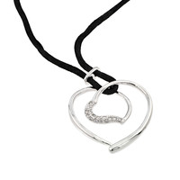 Sterling Silver Open Heart Black Rope Necklace