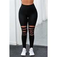 Leggings with Cut Outs - Black