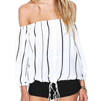 White Striped Off Shoulder Cuff Sleeve Blouse