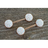 White Druzy Rose Gold Nipple Barbells Nipple Piercings