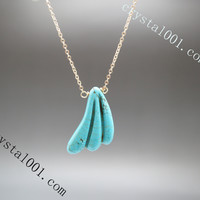 Natural turquoise leaf tiny gold necklace