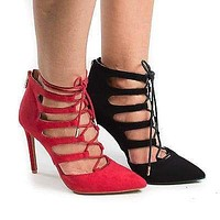 Riseup32V By Anne Michelle, Pointy Toe Corset Lace Up Cut Out Stiletto Heel Pumps
