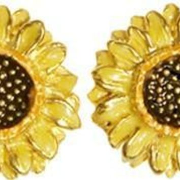 Sunflower Post Earrings with Color after Van Gogh