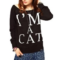 WIIPU Women's Printed I Am Cat Wide Autumn Long Loose Pullover