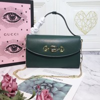 HCXX 19July 270 Gucci Zumi 572375 Interlock G equine buckle Cowhide Chain Shoulder Strap Handbag 24-14-5 green