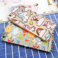 Fashion Cute Unicorn Case For iphone 7 Case For iphone7 6 6S 5 5S SE Back Cover Lovely Cartoon Flower Clear Phone Cases Capa NEW -0316