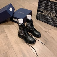 Dior 2021 NEW ARRIVALS Men's And Women's Leather Fashion High Top Boots Sneakers Shoes