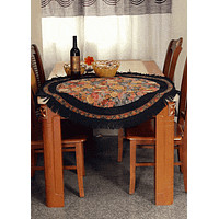 Tache Country Rustic Floral Black Midnight Awakening Tablecloth (DBTC-3089BL)