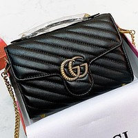 Hipgirls GUCCI New fashion leather shoulder bag crossbody bag handbag Black