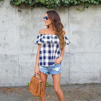 Off the shoulder Picnic Print Casual Blouse