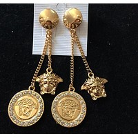 Versace Popular Women Retro Personality Circular Tassel Pendant Earrings Jewelry I12374-1