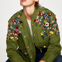 PARKA WITH FLORAL EMBROIDERY DETAILS