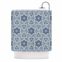 "Angelo Cerantola ""Astral"" Beige Blue Shower Curtain"