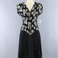 Vintage 1980s Black and Gold Chiffon Party Dress