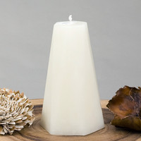 "Ivory Pillar Candle Hexagon 6"" tall"