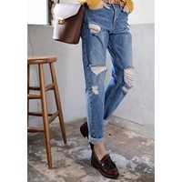 Distressed Washed Baggy-Fit Jeans