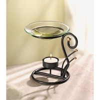 Sprakling Art Deco Metal And Glass Tealight Candle Oil Warmer