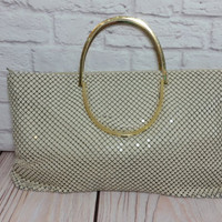 Vintage Off White Metal Mesh Purse Gold Toned Handles Retro Glam Style