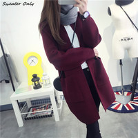 2016 new hot sale women's autumn winter long section o-neck pockets knit cardigans coat woman big yards causal sweaters coats