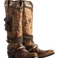 Double D Ranch Women's Turquoise Ammunition Cowgirl Boots