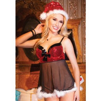 After the Rain Lingerie - Naughty List Christmas Babydoll Set Seasonal Playwear