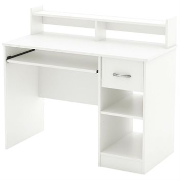 Contemporary Home Office Computer Desk in White Wood Finish
