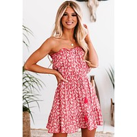 St. Barts Babe Ruffled Strapless Floral Mini Dress (Coral/Multi)