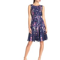 Adrianna Papell Women's Sleeveless Pleated Floral-Print Dress