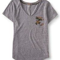 Cape Juby Floral Accent V-Neck Tee - Aeropostale
