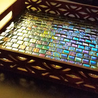 Elaborate Decorative Mosaic Tray - Wooden Table Tray, home decor, candle holder, decorative, mosaic tile, iridescent