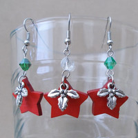 Red Wooden Star, Silver Holly Charm & Crystal Dangle Earrings, Handmade Holiday, Festive Jewelry, Ladies Gift, Fun, Cute, Fashion Jewelry