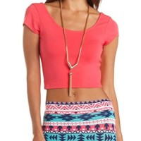 Double Scoop Short Sleeve Crop Top by Charlotte Russe - Teaberry
