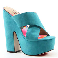 Luichiny Shoes Brad Shaw 6.25 Inch Heel, 2.25 Inch Platform Imi Suede Sandals Teal (Blue)