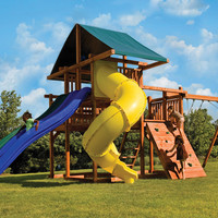 Kid's Creations High Wire Redwood Swing Set