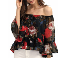 Off Shoulder Floral Print Chiffon Blouse  12171