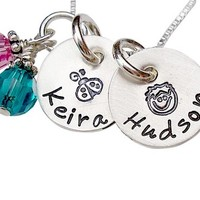 Personalized Hand Stamped Two Name Tag Disc Necklace with Name , Design , Pearl and Birthstone Charm