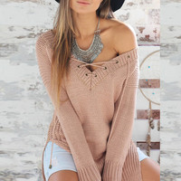 Lace-Up Drawstring V- Neck Side Slit  Ribbed Knit Sweater