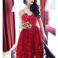 Red Semi Sheer Lace Crochet Overlay Maxi Dress