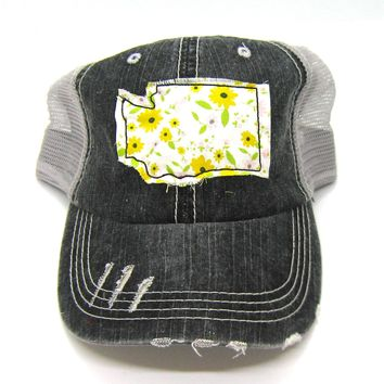 Washington Hat - Black and Gray Distressed Trucker Hat - Green and Yellow Daisy Applique - All United States Available