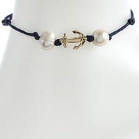 Anchor Charm Fresh Water Pearl Anklet