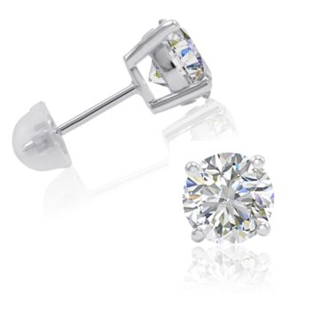 4ct tw Sterling Silver Stud Earrings made with Swarovski Zirconia