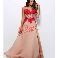 Mac Duggal 10020R Red & Nude Lace Corset Chiffon Gown 2015 Prom Dresses