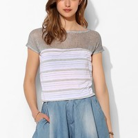 BDG Mesh Stripe Boatneck Top - Urban Outfitters
