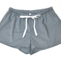 French Cotton Pajamas Shorts Stormy With Black Dots