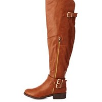 Buckled Over-the-Knee Riding Boots by Charlotte Russe - Chestnut