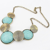 Circular Turquoise and Illusion Necklace